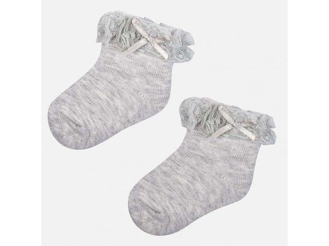 Ponožky s krajkou světle šedé NEWBORN Mayoral