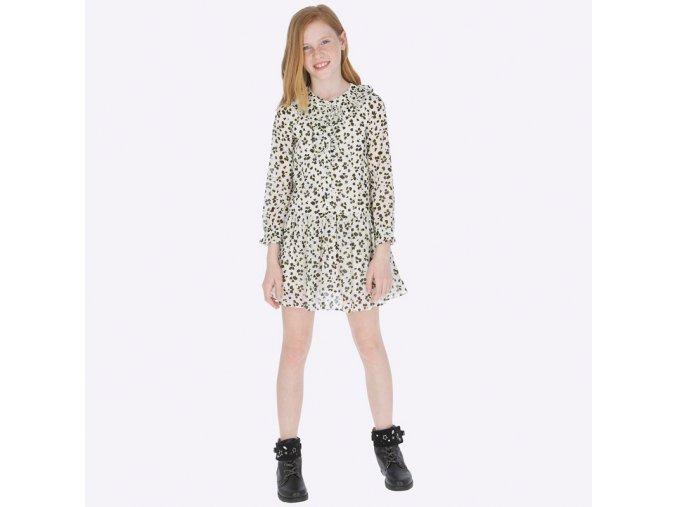 Šaty s dlouhým rukávem šifónové gepardí JUNIOR Mayoral