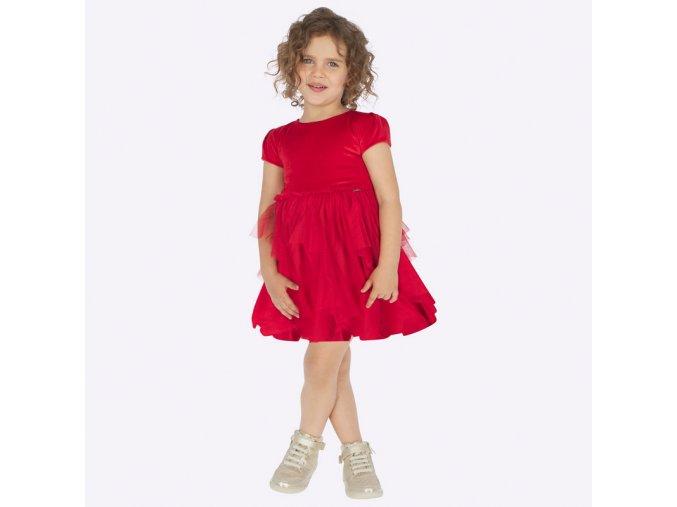 Šaty s krátkým rukávem a tylovou sukní červené MINI Mayoral