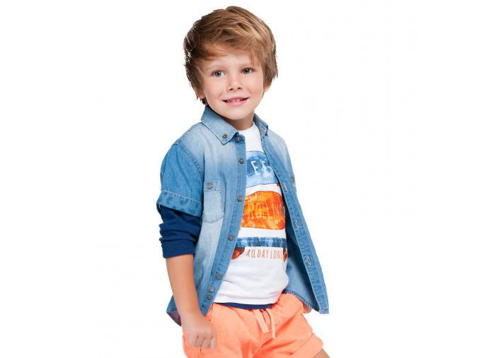 Košile krátký rukáv džínová se vzorem MINI Mayoral