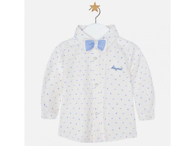 Košile dlouhý rukáv bílá se světle modrým vzorem + motýlek NEWBORN Mayoral