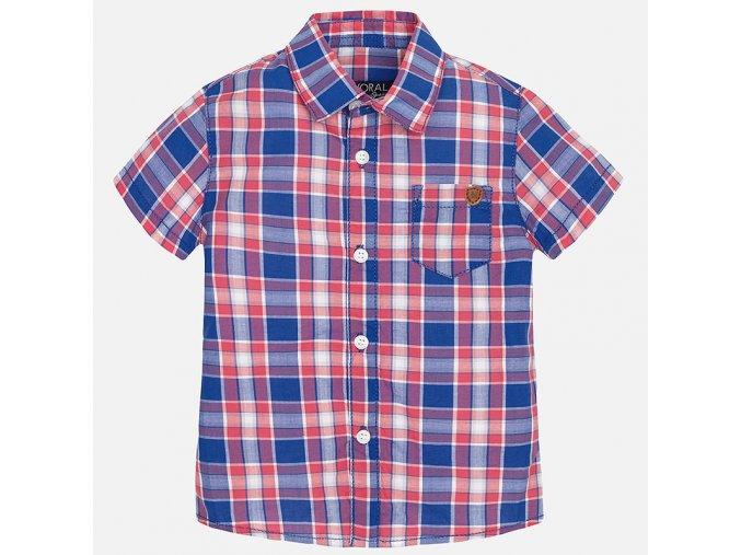 Košile krátký rukáv kostka modro-červená BABY Mayoral