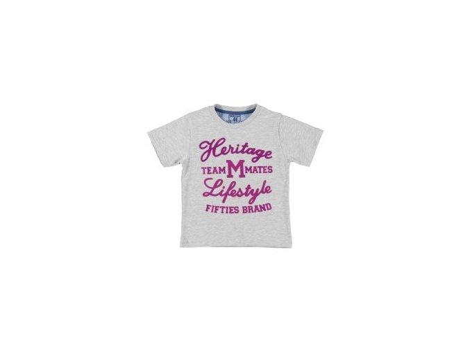 Tričko s krátký rukáv semišový nápis šedé MINI Mayoral