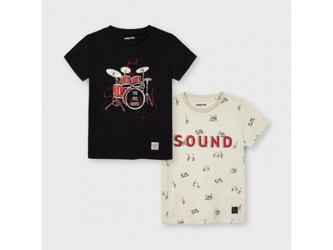 2 pack triček s krátkým rukávem SOUND béžové MINI Mayoral