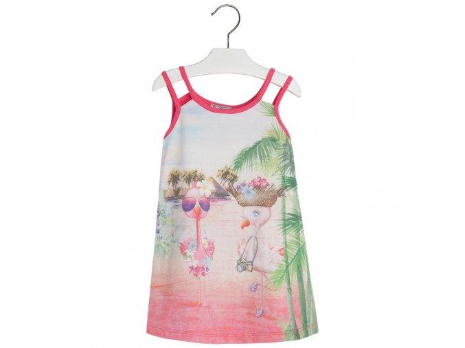 Šaty bavlněné plameňáci růžové MINI Mayoral
