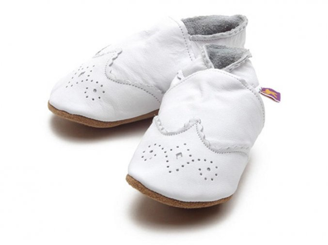 soft leather baby shoes brogue in white 868