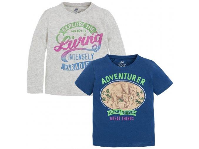 2 pack triček s krátkým a dlouhým rukávem modro-šedé MINI Mayoral