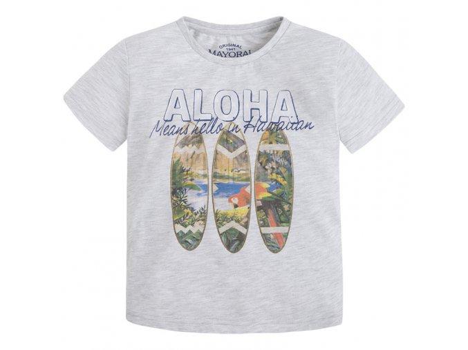 Tričko s krátkým rukávem ALOHA šedý melír MINI Mayoral