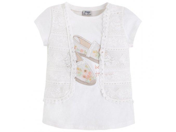 Tričko s krátkým rukávem a vestičkou smetanové MINI Mayoral