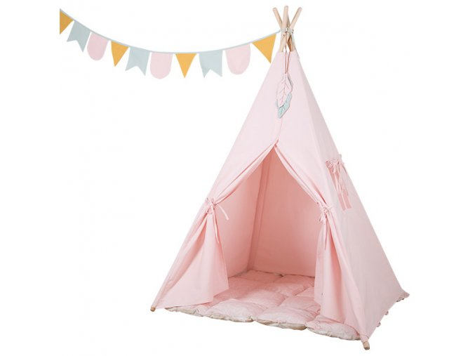 tipi tent roze met speelmat en slinger little dutch 600x600