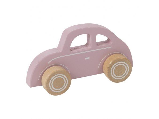 Dřevěné autíčko brouk světle růžové Little Dutch