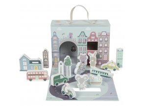 Domeček papírový s městečkem a figurkami LITTLE DUTCH