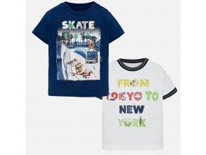 2pack triček s krátkým rukávem SKATE bílo-modré BABY Mayoral