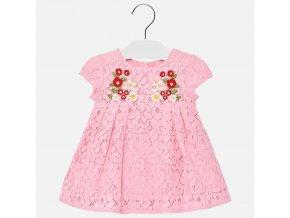 Šaty s krajkou a výšivkou růžové BABY Mayoral