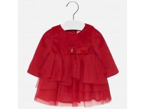 Šaty s dlouhým rukávem sametové červené BABY Mayoral