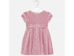 Šaty s krátkým rukávem puntík sametové růžové MINI Mayoral
