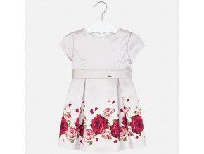 Šaty s krátkým rukávem růžičky béžové MINI Mayoral