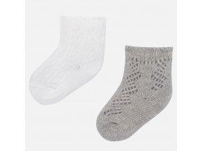 2 pack ponožek se vzorem šedo-smetanové BABY Mayoral