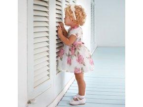 Šaty šifónové s krátkým rukávem květiny růžové BABY Mayoral