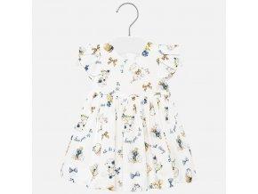 Šaty s skládaným rukávem koťátka smetanové BABY Mayoral