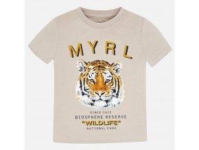 Tričko s krátkým rukávem tygr béžové MINI Mayoral