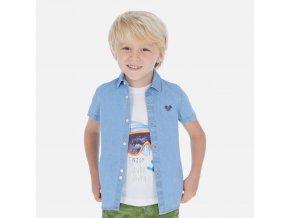 Košile s krátkým rukávem riflová puntík světle modrá MINI Mayoral
