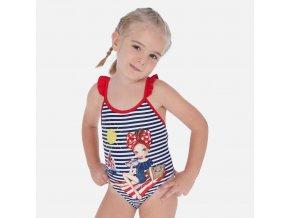 Plavky jednodílné s proužkem dívka tmavě modré MINI Mayoral