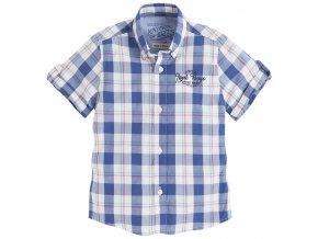 Košile krátký rukáv kostka modrá MINI Mayoral