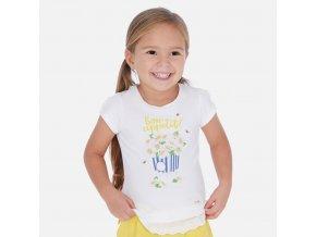 Tričko s krátkým rukávem květinový popcorn žluté MINI Mayoral