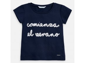 Tričko s krátkým rukávem COMIENZA EL VERANO tmavě modré MINI Mayoral