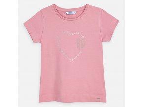 Tričko s krátkým rukávem srdíčko basic světle růžové MINI Mayoral