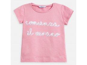 Tričko s krátkým rukávem COMIENZA EL VERANO světle růžové MINI Mayoral