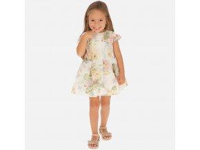 Šaty s květinami meruňkové MINI Mayoral