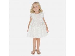 Šaty tylové s výšivkami bílé MINI Mayoral