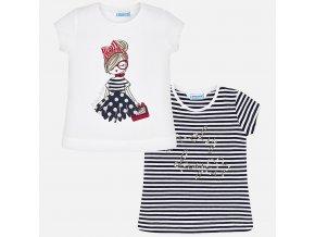 2 pack triček s krátkým rukávem parádnice tmavě modré MINI Mayoral