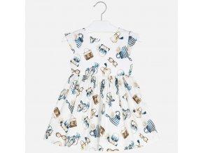 Šaty s tiskem módních doplňků smetanové MINI Mayoral