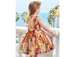 Šaty s květinami lesklé meruňkové Abel & Lula