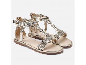 Sandále kožené páskové zlaté Mayoral