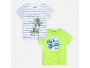 2 pack triček pruhy neonově zelené  MINI Mayoral