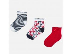 3 pack ponožek mašličky modro-červené BABY Mayoral