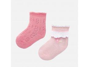 2 pack ozdobných ponožek kytiček růžové NEWBORN Mayoral