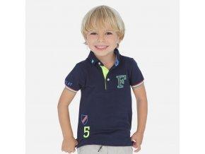Tričko s límečkem a krátkým rukávem aplikace tmavě modré MINI Mayoral