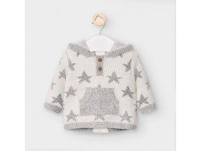 Svetr s hvězdičkami bílo-šedý NEWBORN Mayoral