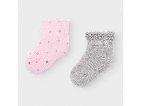 2 pack ponožek hvězdičky růžovo-šedé NEWBORN Mayoral