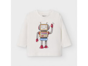 Triko s dlouhým rukávem robot smetanové BABY Mayoral