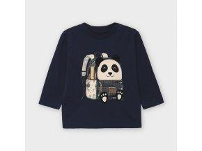 Triko s dlouhým rukávem batoh panda modré BABY Mayoral