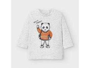 Triko s dlouhým rukávem panda světle šedé BABY Mayoral