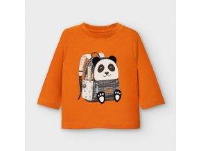 Triko s dlouhým rukávem batoh panda oranžové BABY Mayoral