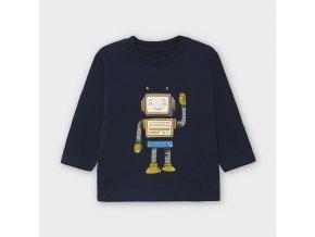 Triko s dlouhým rukávem robot tmavě modré BABY Mayoral