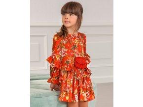 Šaty viskózové s kytičkami oranžové ABEL & LULA